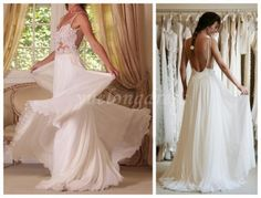 Backless Wedding Dress, Beach Wedding Dress, Sexy Wedding Dress, Lace Wedding Dress, Sheer White Wedding Dress, Chiffon Wedding Dress
