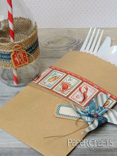 Summer party utensil holder and cup by Laura Williams; Paper Crafts & Scrapbooking blog: paper crafting, burlap, pinwheel