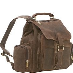 LeDonne Distressed Leather Multi Pocket Back Pack Choc >>> You can find out more details at the link of the image.-It is an affiliate link to Amazon.