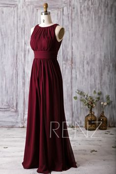 2016 Wine Red Bridesmaid Dress Scoop Neck Wedding von RenzRags