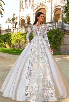 Crystal Design 2017 bridal long sleeves sweetheart neckline full embellishment lace glamorous a  line wedding dress sheer back royal train (ohara) mv #wedding #bridal