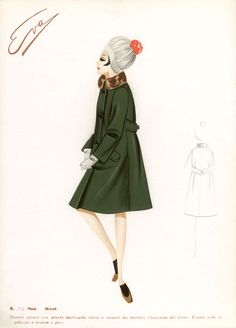 1960s Italian original fashion design sketch. Pencil, watercolour and airbrush. Size: 350mm by 245mm (sheet) $120 AUD