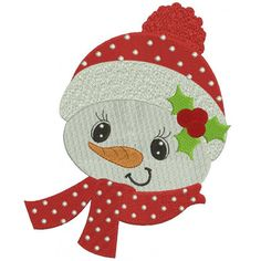 Snowman with a scarf Christmas Filled Machine Embroidery Digitized Design Pattern