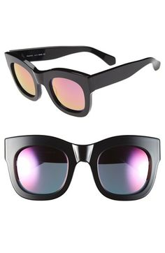 Illesteva 'Hamilton' 49mm Retro Sunglasses Black/ Pink One Size by: Illesteva