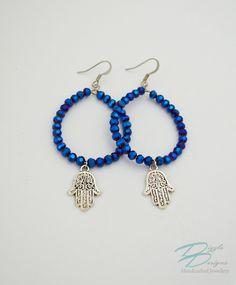 Metallic Cobalt Blue Crystal Hoop Earrings w/ Silver Filigree Hamsa Charms by DizzleDesigns on Etsy Urban Chic, Silver Filigree, Blue Crystals, Hamsa, Cobalt Blue, Metallic, Hoop Earrings, Charmed, Etsy