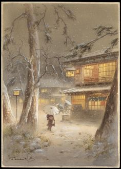 Night Winter Town Scene Fukutaro Terauchi