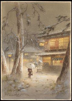 Night Winter Town Scene   Fukutaro Terauchi