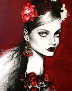 """Here's a peek at the STUNNING new works by Pippa McManus Illustration! She'll be exhibiting them in her show """"Gypsy"""" opening September 25 at the Friends of Leon Gallery Sydney I'm SOOOOOO excited to attend! Fashion Illustration Face, Jewelry Illustration, Fashion Illustrations, Illustration Artists, Mixed Media Faces, Beautiful Drawings, Heart Art, Face Art, Art Faces"""