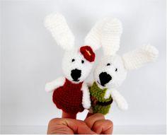 bunny finger puppets crocheted pair of amigurumi by crochAndi