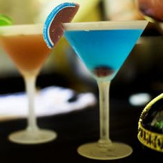 Tiffany Blue Martini: 2 oz Vodka, 1 oz Pineapple Juice, 1 oz Blue Curacao