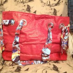 TRUE RELIGION - Really Cute - Red Glittery Bag w Multi-Color Scarf Handles...