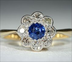 SALE Edwardian Sapphire and Diamond Cluster by VictoriaSterling