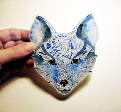 100 waterproof vinyl sticker decal Blue Fox face by TevaGallery, $7.50
