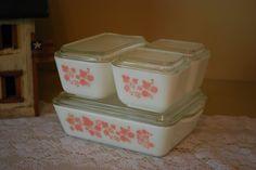 Four Dish Set of Vintage Pyrex Pink Gooseberry  Fridge Dishes. $99.00, via Etsy.