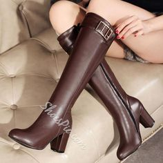 1a4f2fa19a68 Shoespie Gaint Buckle Chunky Heel Knee High Boots  Highheelboots Thigh High  Boots