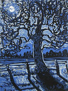 Robert Patierno. Midnight Fields, 2007. Reduction woodcut. Edition of 20. 16 x 12 inches. $400