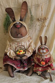 Bunny Bunny, Needle And Thread, Art Dolls, Primitive, Collage, Sewing, Paper, Fall, Autumn