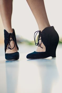 lace-up suede wedges