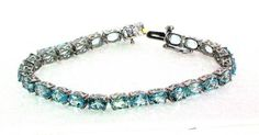 """25.00ctw Sky Blue Topaz Silver Bracelet - 8"""" long Mother's Day    http://stores.ebay.com/JEWELRY-AND-GIFTS-BY-ALICE-AND-ANN"""