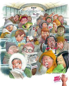 School Bus cartoon drawing of a typical load of kids! School Bus Drawing, Bus Humor, Inside Schools, Bus Cartoon, Bus Art, School Bus Driver, School Buses, Vintage School, Cartoon Drawings