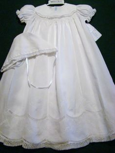 FELTMAN+BROTHERS+GIRLSNB/3M+SMOCKED+BATISTE+CHRISTENING+GOWN+SET~DEDICATION~NWT+#FeltmanBrothers+#Gown
