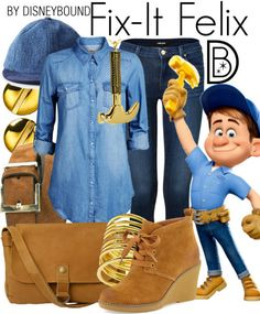 You can fix anything in this outfit inspired by Fix-It Felix of Wreck it Ralph. | Disney Fashion | DisneyFashion Outfits | Disney Outfits | Disney Outfits Ideas | Disneybound Outfits |