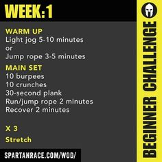 Spartan Race Workout of the Day (Week 1 Beginner Challenge) Spartan Sprint, Spartan Race Training, Spartan Workout, Spartan Life, Spartan Warrior, Triathlon Training, Weight Lifting, Body Weight Squat, Weight Loss