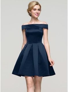 This A-Line Off-the-Shoulder Short Satin Homecoming Dress is also fit for bridesmaids. : This A-Line Off-the-Shoulder Short Satin Homecoming Dress is also fit for bridesmaids. Prom Dresses Blue, Trendy Dresses, Tight Dresses, Homecoming Dresses, Sexy Dresses, Cute Dresses, Beautiful Dresses, Evening Dresses, Fashion Dresses