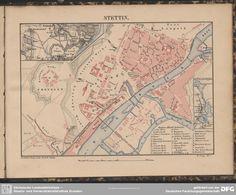 Stettin 1860 aus:  Reise-Atlas von Deutschland  Lange, Henry; Leipzig