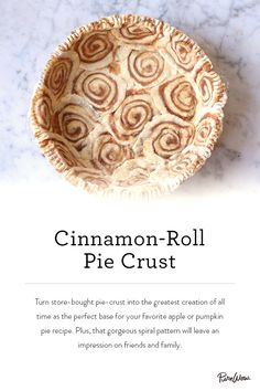 Looking for a perfect dessert? Our Cinnamon-Roll Pie Crust is easy to make and even easier to impress. Pick your favorite pie content, bake and serve. Pie Crust Recipes, Pumpkin Pie Recipes, Dessert Simple, Just Desserts, Delicious Desserts, Dessert Design, Pie Crust Designs, Design Plat, Sweet Pie