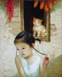 """Ying Ying"" -- by Xue Dai Mongolian) Art Et Illustration, Illustrations, Chinese Painting, Chinese Art, Painting For Kids, Art For Kids, Art Chinois, Art Asiatique, Collie"