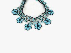 Blue  Oya Flower Crochet Choker Necklace Bead Crochet by Nakkashe