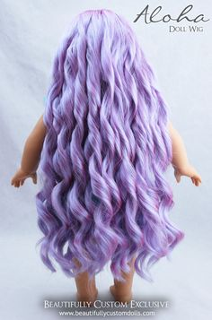 "Lavender Purple Aloha Doll Wig for 18"" Custom American Girl Dolls (Size 10-11) #Wig"