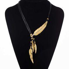 Mode Böhmischen Stil Seil Kette Feder Muster Anhänger Halskette Für Frauen Fine Jewelry Hals Aussage Halskette