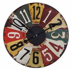 Clock from repurposed License Plate numbers; upcycle, recycle, salvage, repurpose, diy; for ideas and goods shop at Estate ReSale  ReDesign, Bonita Springs, FL