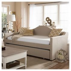 Prime Modern And Contemporary Linen Fabric Upholstered Arched Back Sofa Daybed With Roll - Out Trundle Guest Bed - Twin - Beige - Baxton Studio Girls Daybed, Daybed With Trundle, Guest Bedroom Office, Guest Bedrooms, Guest Room, Upholstered Daybed, Sofa Daybed, Bunker Bed, Studio Bed