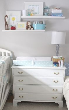 Beautiful small space nursery - I love how the clothes are organized in the closet.