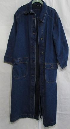 Women's Newport News Denim Long Duster Coat Size 10 Color Medium Blue Cotton | eBay