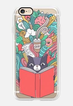 Casetify iPhone 7 Case and Other iPhone Covers - Cute Cat reading a book. Adorable doodles, food, animals and coffee! by Anna Alekseeva #kostolom3000 | #Casetify