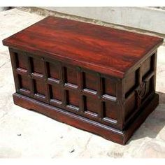 Cherry Wood Storage Chest Trunk Toy Box Coffee Table