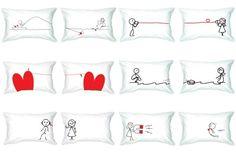 Haz que tu hogar sea más romántico con almohadas como estas.  #almohadas #decoración #love #románticas #dos #pareja