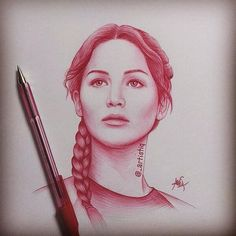 Ughhh... Why can't I be this good?  Katniss Everdeen, drawn in ballpoint pen by @_artistiq on Twitter
