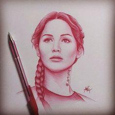 Katniss Everdeen, drawn in ballpoint pen by @_artistiq on Twitter