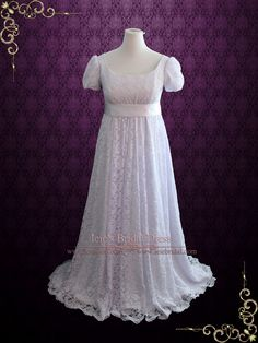 Edwardian Regency Style Empire Waist Lace Wedding Dress | Harriet | Ieie's Bridal Wedding Dress Boutique