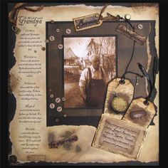 vintage scrapbook layout- love this. I miss my granddad so much this would be a lovely tribute page! Heritage Scrapbook Pages, Scrapbook Page Layouts, Scrapbook Paper Crafts, Scrapbook Cards, Scrapbook Photos, Scrapbooking Journal, Scrapbooking Vintage, Digital Scrapbooking, Etiquette Vintage