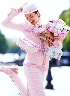 "thefashionbubble: Andreea Diaconu in ""La Vie en Rose"" as part of Fashion Night Supplement of Vogue Paris September 2014, ph. byGilles Bensimon."