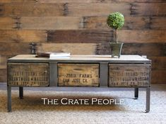 Coffee table, vintage crates, barn wood, industrial furniture, crates, custom tables  3 Drawer Crate Coffee Table  Vintage Wood Crates & by FoundInAttic