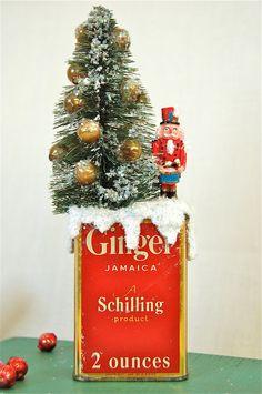 Bottle Brush Tree & Vintage Spice Tin by JenniferAllison on Etsy