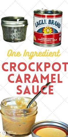 Easy to make 1 ingredient caramel sauce or dulce de leche. All you need is a can of sweetened condensed milk to make this creamy and delicious caramel sauce. Serve on ice cream, use it as a fruit dip or just eat by the spoonful. Find a printable recipe on TodaysCreativeLife.com All You Need Is, Slow Cooker Recipes, Crockpot Recipes, Good Food, Yummy Food, Crockpot Dishes, Dessert For Dinner, Condensed Milk, Recipe Using