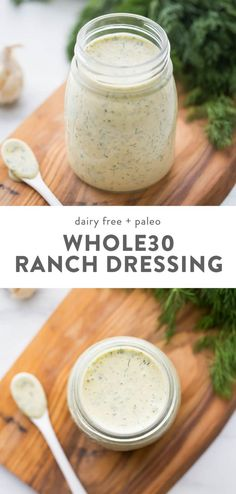 "Dump Ranch Dressing Recipe (Paleo, Dairy-Free) - This ranch dressing recipe is creamy, garlicky, and loaded with fresh herbs. This ""dump r - Easy Healthy Recipes, Paleo Recipes, Whole Food Recipes, Easy Meals, Healthy Cooking, Paleo Meals, Quick Recipes, Healthy Ranch Recipe, Recipes With Fresh Herbs"